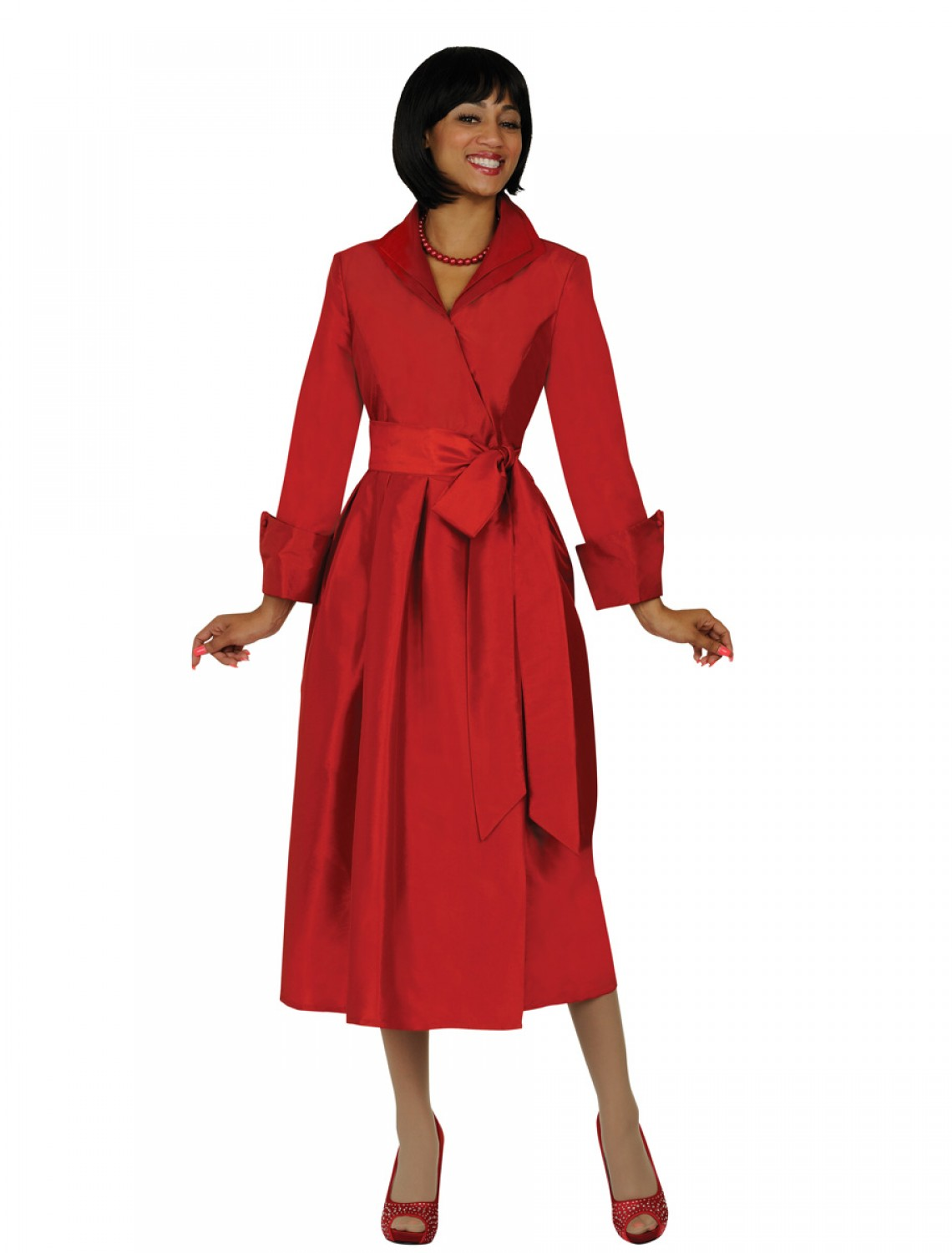 Women Modest Dresses for Church GARNET RED DN5371 ...