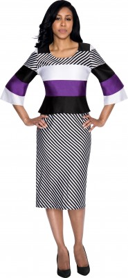 Modest Dresses for Church-DN4421 - BLACK WHITE