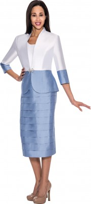 Modest Dresses for Church-DN4432 - WHITE / DUSTY BLUE