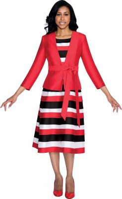 Modest Dresses for Church-DN4522 - RED / BLACK