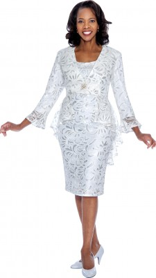 Modest Dresses for Church-DN4592 - WHITE / SILVER