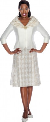 Modest Dresses for Church-DN4612 - IVORY / GOLD