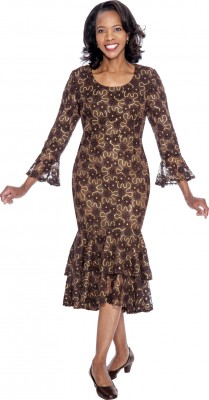 Modest Dresses for Church-DN4621 - BROWN