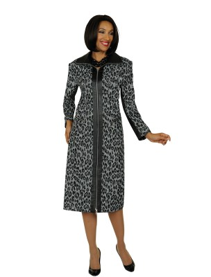 Modest Dresses for Church-DN5301 - SILVER / BLACK