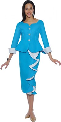Church Denim Suits-DS50242 - TURQUOISE