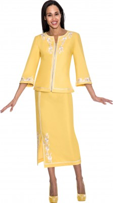 Church Denim Suits-DS50882 - YELLOW / WHITE