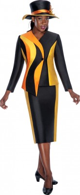 Church Suits-G5542 - BLACK / GOLD / ORANGE