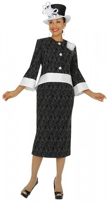 Modest Dresses for Church-N95132 - BLACK / WHITE