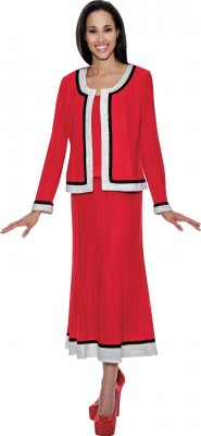 Church Knit Suits-TD94533 - RED / WHITE / BLACK